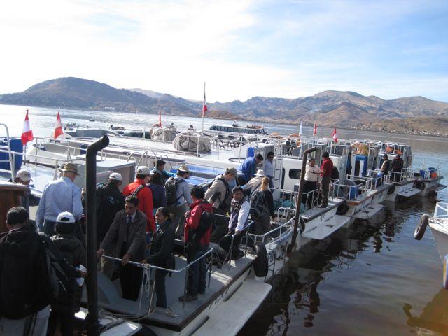 De boot op Lake Titikaka