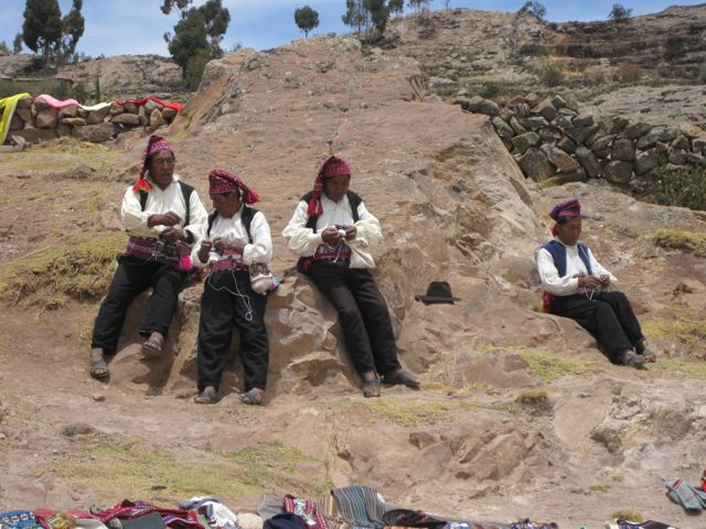 Lokale bewoners bij Lake Titikaka