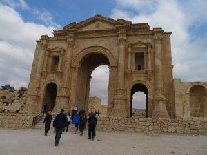 Poort van Hadrian in Jerash, Jordanië