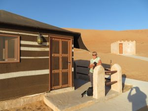 Onze tent bij 1000 Nights kamp in Washiba Sands